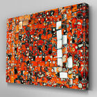 AB997 Modern black orange mosaic xl Canvas Wall Art Abstract Picture Large Print