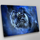 A454 Blue Star Space Bengal Tiger Canvas Wall Art Animal Picture Large Print