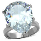 17.3ct Pear Shape Clear CZ Stone Silver Stainless Steel Ladies Ring New
