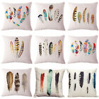 Watercolor Painting Tribal Feather Pillow Cases Sofa Cushion Cover Home Decor