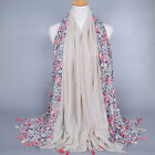 Newest Women Vintage Scarves Wraps Shawl Voile Small Floral Cotton Silk Scarf