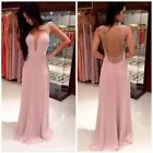 Womens Shiny Beaded Sexy V-neck Sleeveless Chiffon Dress Prom Gowns Dresses - CB