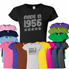 Made In 1956 Old Funny 6 Stars Joke Birthday Present Ladies Tshirt Top Retro