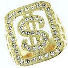 Dollar Sign Bling Gold Plated Clear Stones Mens Ring