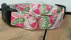 Pink Paisley designer dog collar martingale with leash set option