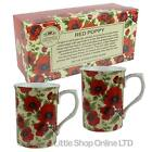 NEW SET of TWO Fine China MUGS by Leonardo Red Poppy Collection Flowers Gift