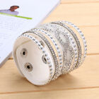 New Multilayer Women Crystal Leather Bracelet Cuff Bangle Jrewelry 10 Colors