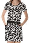 Black White Skull Pattern Women's Clothing Top Dress With Pockets