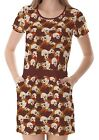 Brown Skull And Flowers Women's Clothing Top Dress With Pockets