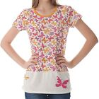 White Floral Butterflies Pattern Womens Ladies Short Sleeve Top Shirt Blouse
