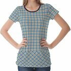 Blue Tartan Patterns Womens Ladies Short Sleeve Top Shirt Blouse