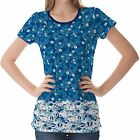 Teal Floral Pattern Womens Ladies Short Sleeve Top Shirt Blouse