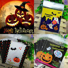 10/50x self adhesive halloween treat cello cellophane cookie candy bags party s