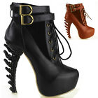 Punk Lace Up Buckle High-top Bone High Heel Platform Ankle Boots, Black/Brown