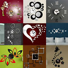 Removable Modern 3D Mirror Acrylic Wall Clock Sticker Vinyl Art DIY Home Decor