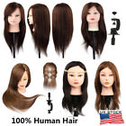 22'/24' 100% Human Hair Hairdressing Long Head Training Mannequin Makeup+Holder