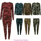 New Ladies Womens Army Camouflage Print Tracksuit Lounge wear Set Pants Joggers