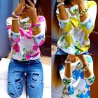 Women Floral Long Sleeve O Neck Top Blouse Sweater T-Shirt Jumper Pullover LM