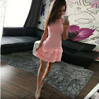Elegant Summer Style Sexy Ladies Sleeveless Lotus Leaf Lace Casual Mini Dress