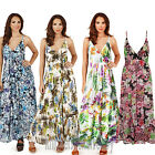 Ladies Floral/Tropical Strappy Sleeveless Maxi Summer Beach Dress Size 8 - 22