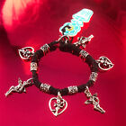 HOTI Hemp Handmade Black Charm Bracelet Ladies Love Cupid Heart Angels Metal NWT