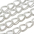 Wholesale Lots Bright Silver Tone Double Ring Chains Jewelry Finding 4x5mm