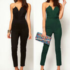 Women's V-Neck Sleeveless Bodycon Playsuit Jumpsuit Romper Trousers Clubwear