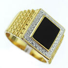 Genuine Jet Black Onyx Gold Plated Mens Silver Pave Tutone Ring