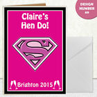 CUSTOMISABLE HEN DO SUPERGIRL HUMOROUS GREETING CARD A6 IN SIZE INVITATIONS