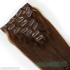 """Clip in Remy Human Hair Extensions15-22"""" 7PCS Full Head 70g #6Chocolate Brown"""