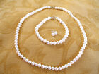 SET- White OR Pink Pearls  Necklace, Earrings, and Bracelet