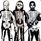 Skeleton Kids Fancy Dress Up Halloween Skull Bones Childrens Spooky Boys Costume