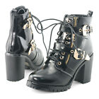 Womens black lace up block chunky metallic buckle heels party dress boots shoes