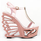 Pink/Silver T-Strap Bride Wedding Wedge Butterfly Heel Sandals Size 4/5/6/7/8/9