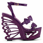Black/Purple Heart Bride Wedding EVE Wedge Butterfly Heel Sandals Size 4/5/6/7/8