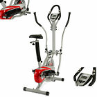 2 in 1 Elliptical Cross Trainer Bike Olympic Red/Silver Exercise Cardio+Seat