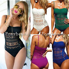 HOT Sexy Lady Halter Lace Padded One Piece Summer Beach Swimsuit Swimwear Colors