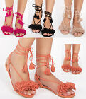 Womens ladies summer flat fringe tassel tie lace up beach trendy sandals size
