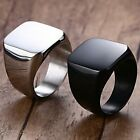 Size 5-15 Black Stainless Steel Titanium Signet Ring Plain Classical Father Gift