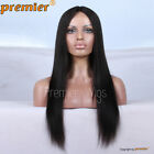 Remy Hair Middle Part Yaki Straight Natural Looking Glueless Lace Part Lace Wigs