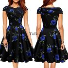 Sexy Women Vintage Style Sleeveless Sundress Floral Pleated Dress 3 Colors TXWD