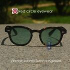 Retro Vintage Johnny Depp sunglasses tortoise frame light green lens men glass