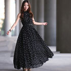 Fashion Chiffon Dot Sleeveless Skirt Dress Full Long Collar Loose Size With Belt
