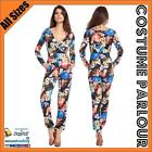 Womens Retro Hippie Flower Power Jumpsuit 50s 60s Playsuit Costume All Sizes