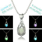 Glow In Dark Pendant Necklace The Little Mermaid's Teardrop Womens Jewelry Gift