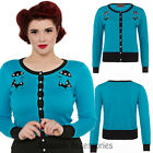 RKV49 Voodoo Vixen Clarissa Blue Cardigan Cat Kitty Retro Pin Up 50 Rockabilly
