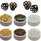 Free 100/100Pcs Gold Silver Plated Flower Beads Caps For Jewelry Making 5x6mm