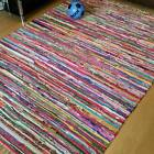 Multi Colour Chindi Rug Light Shades of Recycled Stripes Cotton New Mat Non Slip