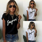 Fashion Womens Ladies Summer Letter Short Sleeve Blouse Casual Tops T-Shirt New