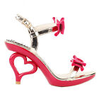 Black/Red Gold Double Bows Strappy Bride Wedding Sandals Size 2.5/3/4/5/6/7/7.5